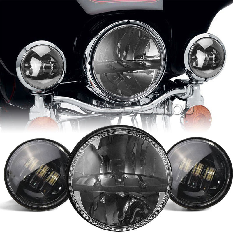 7 Quot Led Projector Daymaker Headlight Passing Lights For Harley Electra